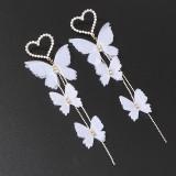 HOVANCI European and American fashion romantic beautiful earring pearl love heart butterfly long earrings