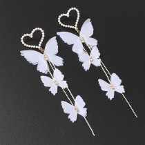 HOVANCI European and American fashion romantic beautiful earring pearl love heart butterfly long earrings
