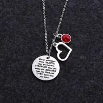 Heart shaped charm letter titanium steel pendant necklace