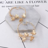 HOVANCI 18K Gold 55mm Oversized Round Circle Hoop Earrings 3D Insect Gold Butterfly Hoop Earrings for Christmas Gift