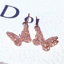 HOVANCI Newest Shinny Sweet Cute Butterfly Earrings Dangle Earrings Rhinestone Butterfly Stud Earring For Girls Women