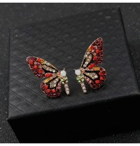 HOVANCI 2020 Fashion 925 Silver Stud Full Rhinestone Small Butterfly Wing Earrings Colorful Crystal Butterfly Stud Earrings