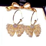 HOVANCI Luxury Shinny Butterfly Earrings Diamond Rhinestone Pearl Hoop Earring Charm Jewelry For Ladies Women