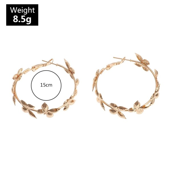 HOVANCI New Arrivals Bohemian 18K Gold Plated Multiple Butterfly Hoop Earrings 48mm Big Round Butterfly Hoop Earrings