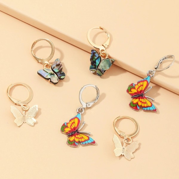 HOVANCI 3pcs set 2020 New Summer Boho Beach Colorful Butterfly Huggie Hoop Earrings Small Abalone Shell Butterfly Hoop Earrings