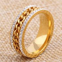 fashion bridal rings rotatable Cuban chains jewelry high quality zircon ring