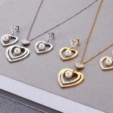 fashion simple double layer love heart pearl earrings necklace set jewelry