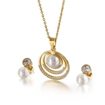 New Simple Round Pearl Set Two-piece Titanium Steel Hollow Diamond Necklace and Earrings Set