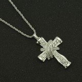 Religious Crucifix Design Zinc Alloy Christian Necklace Luxury Crystal Diamond Gold Cross Necklace