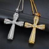 Diamond Inlaid Stainless Steel Cross Pendant