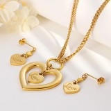 new hollow combination double heart-shaped LOVE necklace + earrings two-piece gift for girlfriend