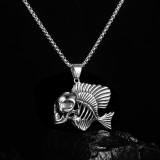 Personality hip-hop skull fish titanium steel necklace men's jewelry