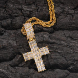 Zircon cross pendant necklace, gold-plated cross necklace