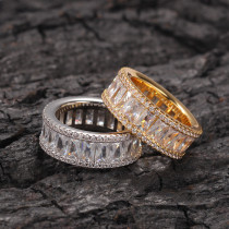 Copper inlaid zircon ring, European and American simple personality men's ring