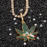 Zircon leaf smoking skull pendant necklace European and American fashion brand gold-plated necklace