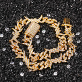 Individual zircon Cuban bracelet, wild fashion thorny bracelet