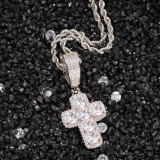 Zircon cross solid pendant necklace, street fashion jewelry