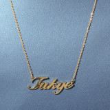 Stainless steel cut letter necklace, personalized name custom chain item