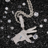 European and American Hip Hop Gesture Solid Pendant Necklace