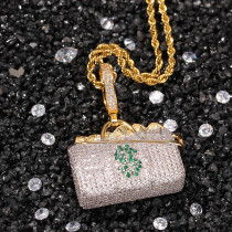 European and American money bag pendant street style copper inlaid zircon trend sweater chain