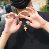 Zircon cross solid pendant necklace, street fashion jewelry