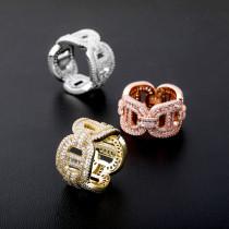 Real Gold Plating Zircon Hip Hop Men's Ring