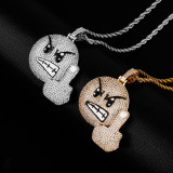 Angry middle finger pendant, personality hip-hop trendy necklace