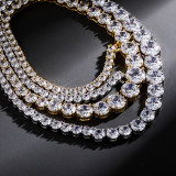 Single row zircon personality real gold plating necklace