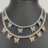 Hip hop butterfly necklace
