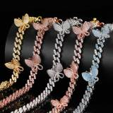 Full diamond butterfly zircon 18inch necklace