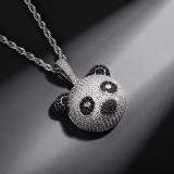 Panda head pendant   zircon hip-hop necklace