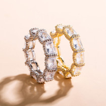 Real gold electroplated zircon personality ring