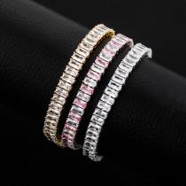 Real gold plating full diamond zircon bracelet