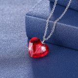 S925 red heart necklace