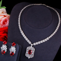 Korean style zircon necklace and earrings set multi-color optional
