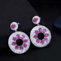 All-match circle zircon earrings