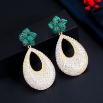 European and American full diamond drop zircon earrings