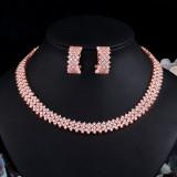 Korean fashion fashion bride full diamond earrings necklace set