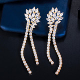 Korean style new zircon tassel earrings