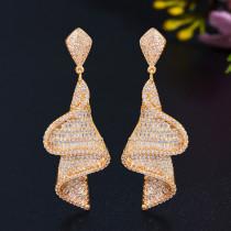 Geometric spiral zircon earrings
