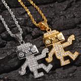 Titanium steel hip-hop dancing robot necklace