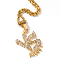 European and American hip hop zircon alphabet necklace
