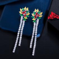 Korean style new zircon tassel earrings