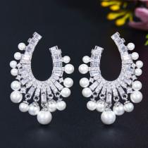 Korean Fashion Pearl Zircon Stud Earrings
