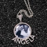 Letter photo frame pendant necklace