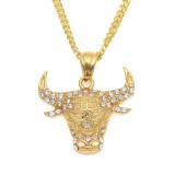 Vintage Titanium Bull Head Necklace