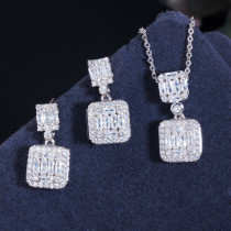 Korean style zircon earring necklace set