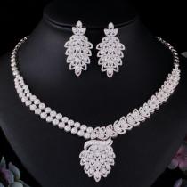 Fashion full diamond zircon necklace earring set