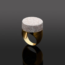 High-end zircon gold-plated hip-hop big head ring