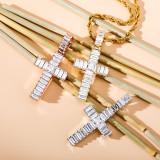 Explosive Zircon Cross Pendant Necklace